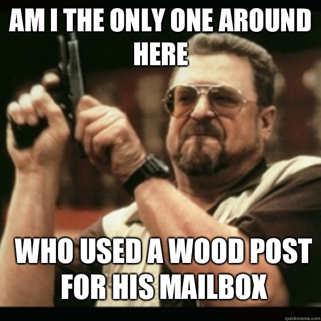 AM I THE ONLY ONE AROUND  HERE  who used a wood post for his mailbox