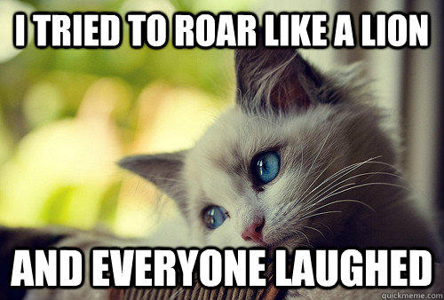 I tried to roar like a lion And everyone laughed  First World Problems Cat