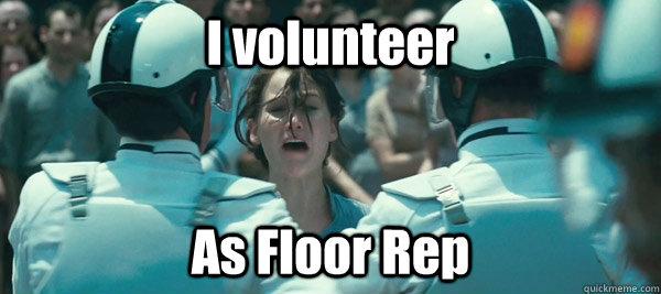 I volunteer As Floor Rep  Hunger Games