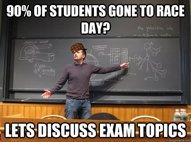 90% of Students gone to race Day? lets discuss exam topics