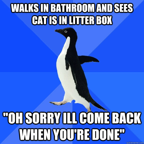 Walks in bathroom and sees cat is in litter box