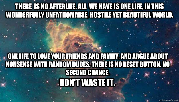 There  is no Afterlife. All  we have is one life, in this wonderfully unfathomable, hostile yet beautiful world. One life to love your friends and family, and argue about nonsense with random dudes. There is no reset button. no second chance.  Don't waste