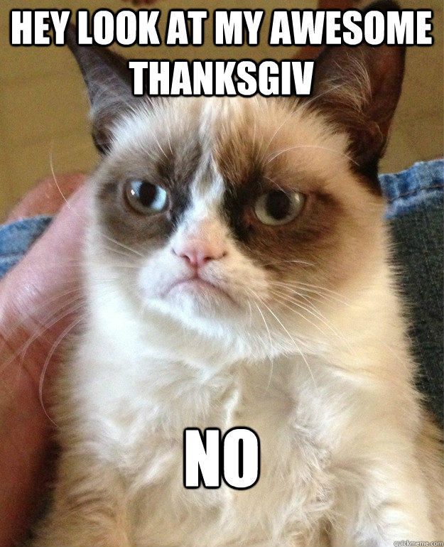 Hey look at my awesome thanksgiv no - Hey look at my awesome thanksgiv no  Grumpy Cat