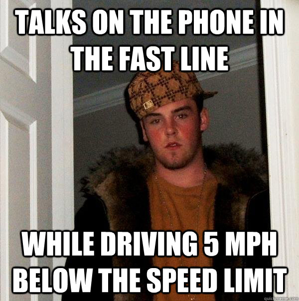talks on the phone in the fast line while driving 5 mph below the speed limit - talks on the phone in the fast line while driving 5 mph below the speed limit  Misc