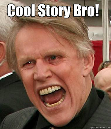 Cool Story Bro! Caption 2 goes here  Gary Busey
