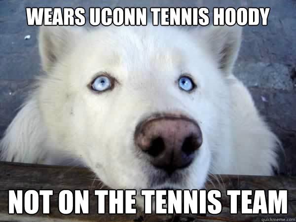 wears uconn tennis hoody not on the tennis team