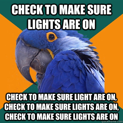 Check to make sure lights are on check to make sure light are on, check to make sure lights are on, check to make sure lights are on - Check to make sure lights are on check to make sure light are on, check to make sure lights are on, check to make sure lights are on  Paranoid Parrot