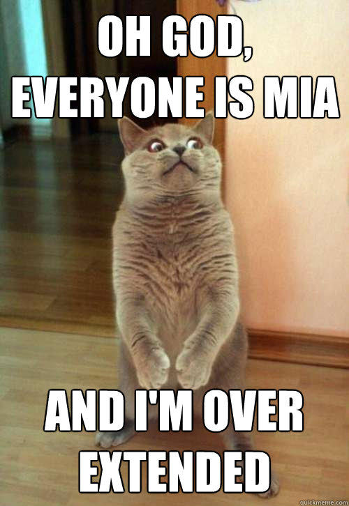 Oh god, everyone is mia and I'm over extended   Horrorcat