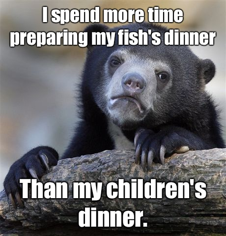 I spend more time preparing my fish's dinner Than my children's dinner. - I spend more time preparing my fish's dinner Than my children's dinner.  Confession Bear