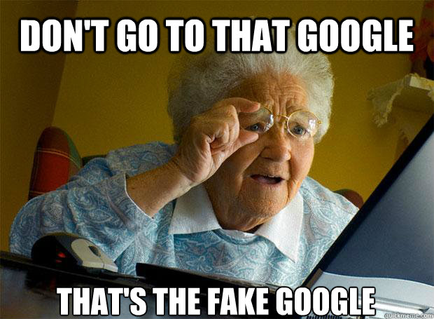 DON'T GO TO THAT GOOGLE THAT'S THE FAKE GOOGLE   Caption 5 goes here  Grandma finds the Internet