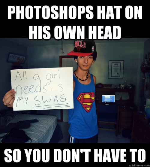 Photoshops Hat On His Own Head So You Don't have to