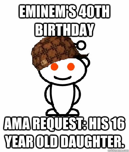 eminem s 40th birthday ama request his 16 year old