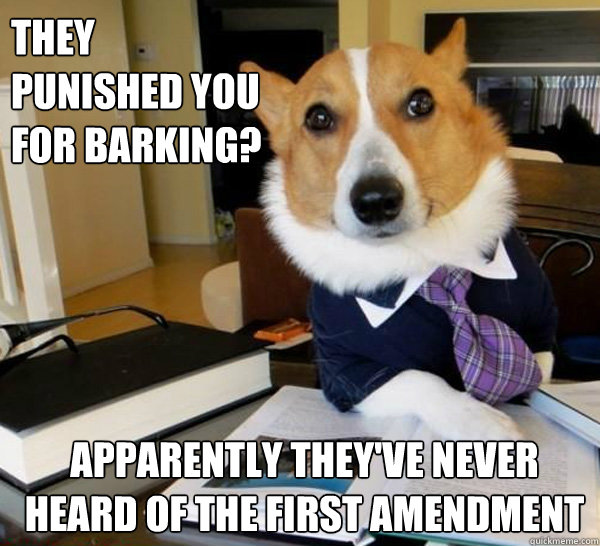 They punished you for barking? Apparently they've never heard of the First Amendment - They punished you for barking? Apparently they've never heard of the First Amendment  Lawyer Dog