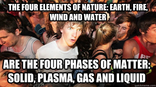 The four elements of nature: Earth, Fire, Wind and Water Are the four phases of matter: Solid, Plasma, Gas and Liquid - The four elements of nature: Earth, Fire, Wind and Water Are the four phases of matter: Solid, Plasma, Gas and Liquid  Sudden Clarity Clarence