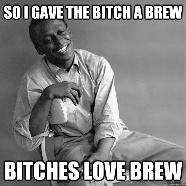 So I gave the Bitch a Brew Bitches Love Brew  Smiling Miles
