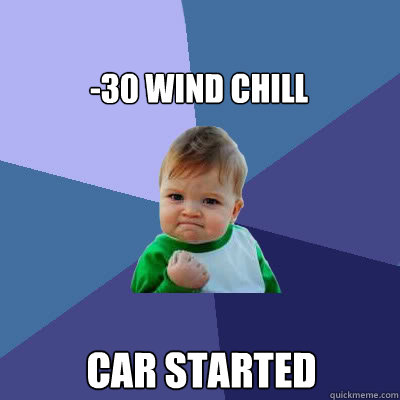 -30 wind chill car started - -30 wind chill car started  Success Baby