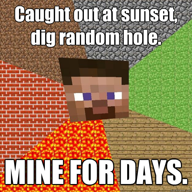 Caught out at sunset, dig random hole. MINE FOR DAYS. - Caught out at sunset, dig random hole. MINE FOR DAYS.  Minecraft