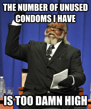 The number of unused condoms I have Is too damn high - The number of unused condoms I have Is too damn high  The Rent Is Too Damn High