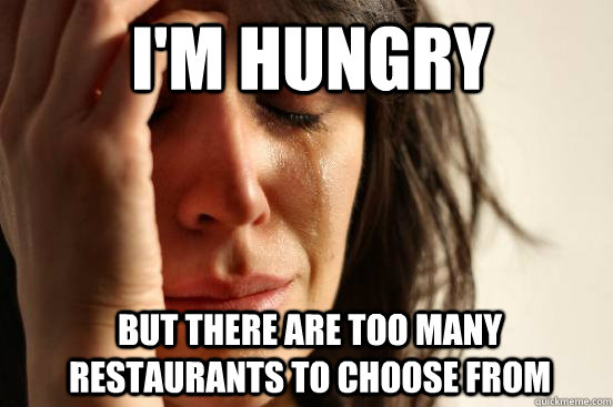 I'm Hungry But there are too many restaurants to choose from