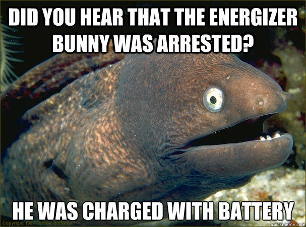 did you hear that the Energizer bunny was arrested? he was charged with battery - did you hear that the Energizer bunny was arrested? he was charged with battery  Bad Joke Eel