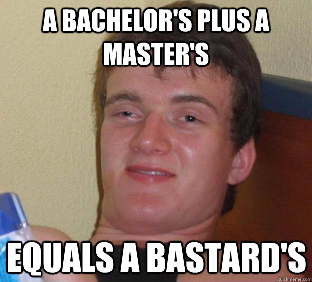 a Bachelor's plus a Master's  Equals a Bastard's - a Bachelor's plus a Master's  Equals a Bastard's  10 Guy