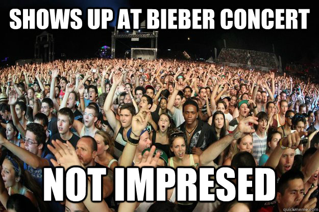 Shows up at Bieber Concert Not impresed