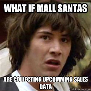 What if mall santas are collecting upcomming sales data - What if mall santas are collecting upcomming sales data  Conspiracy Keanu Sexy