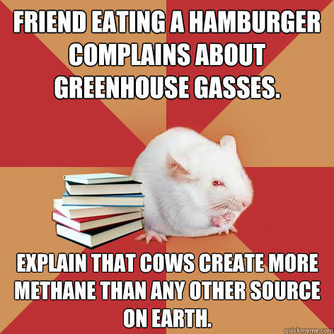 Friend eating a hamburger complains about greenhouse gasses. Explain that cows create more methane than any other source on Earth.  Science Major Mouse