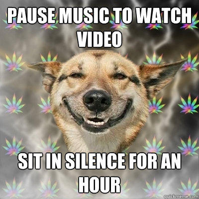 Pause music to watch video sit in silence for an hour