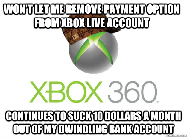 Won't let me remove payment option from xbox live account