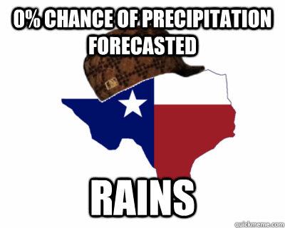 0% chance of precipitation forecasted  Rains