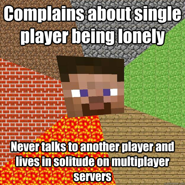 Complains about single player being lonely Never talks to another player and lives in solitude on multiplayer servers - Complains about single player being lonely Never talks to another player and lives in solitude on multiplayer servers  Minecraft