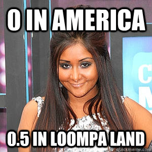 0 in America 0.5 in Loompa land