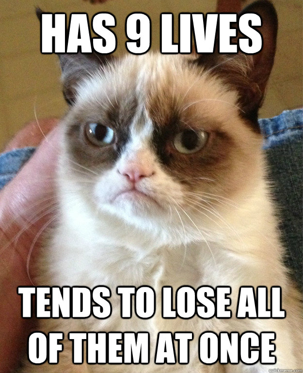 has 9 lives tends to lose all of them at once - has 9 lives tends to lose all of them at once  Grumpy Cat