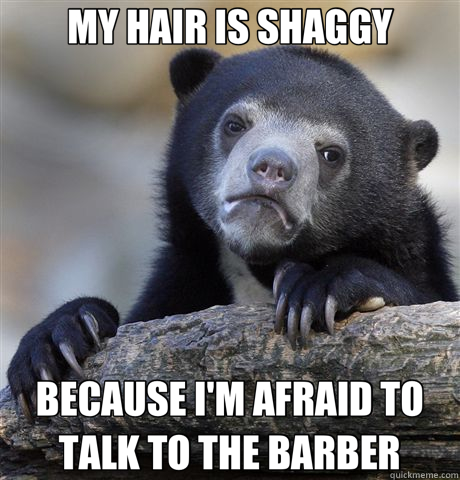 MY HAIR IS SHAGGY BECAUSE I'M AFRAID TO TALK TO THE BARBER - MY HAIR IS SHAGGY BECAUSE I'M AFRAID TO TALK TO THE BARBER  Confession Bear