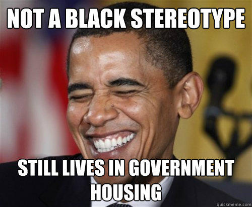 NOT A BLACK STEREOTYPE Still Lives in government housing  Scumbag Obama