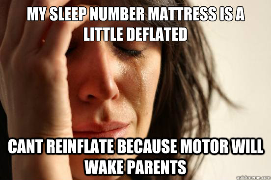 My sleep number mattress is a little deflated Cant reinflate because motor will wake parents - My sleep number mattress is a little deflated Cant reinflate because motor will wake parents  First World Problems