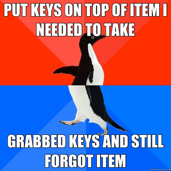 PUT KEYS ON TOP OF ITEM I NEEDED TO TAKE GRABBED KEYS AND STILL FORGOT ITEM - PUT KEYS ON TOP OF ITEM I NEEDED TO TAKE GRABBED KEYS AND STILL FORGOT ITEM  Socially Awesome Awkward Penguin