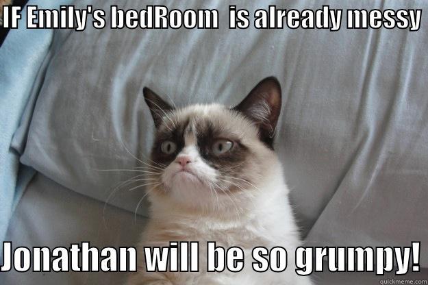IF EMILY'S BEDROOM  IS ALREADY MESSY  JONATHAN WILL BE SO GRUMPY! Grumpy Cat