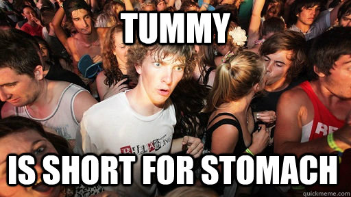 tummy is short for stomach - tummy is short for stomach  Sudden Clarity Clarence