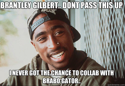BRANTLEY GILBERT.. DONT PASS THIS UP  I NEVER GOT THE CHANCE TO COLLAB WITH BRABO GATOR..  - BRANTLEY GILBERT.. DONT PASS THIS UP  I NEVER GOT THE CHANCE TO COLLAB WITH BRABO GATOR..   SuperPac Shakur