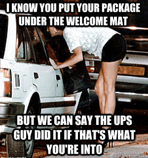 I know you put your package under the welcome mat But we can say the UPS guy did it if that's what you're into - I know you put your package under the welcome mat But we can say the UPS guy did it if that's what you're into  Karma Whore