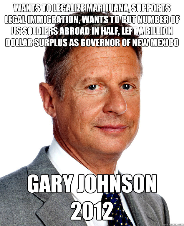 Wants to legalize marijuana, supports legal immigration, wants to cut number of US soldiers abroad in half, Left a billion dollar surplus as governor of New Mexico gary Johnson 2012