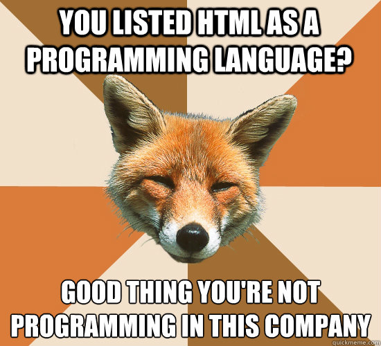 You listed HTML as a programming language? Good thing you're not programming in this company - You listed HTML as a programming language? Good thing you're not programming in this company  Condescending Fox