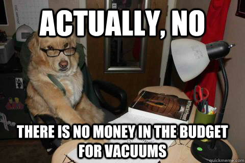 Actually, no there is no money in the budget for vacuums - Actually, no there is no money in the budget for vacuums  Financial Advice Dog