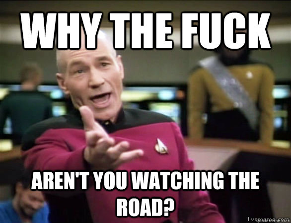 why the fuck Aren't you watching the road? - why the fuck Aren't you watching the road?  Annoyed Picard HD