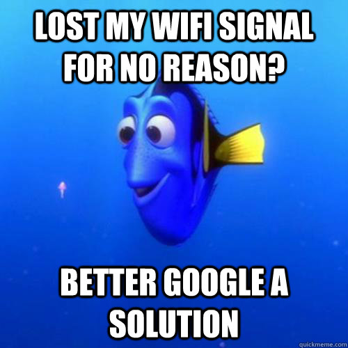 lost my wifi signal for no reason? better google a solution - lost my wifi signal for no reason? better google a solution  dory