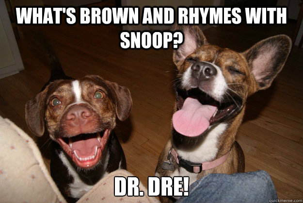 What's brown and rhymes with snoop? dr. dre!  Clean Joke Puppies