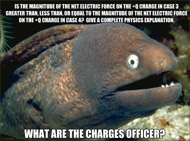 Is the magnitude of the net electric force on the +q charge in case 3 greater than, less than, or equal to the magnitude of the net electric force on the +q charge in case 4?  Give a complete physics explanation.   What are the charges officer?  Bad Joke Eel