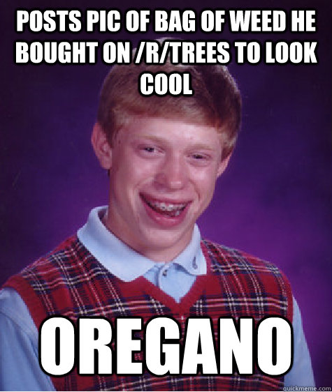 posts pic of bag of weed he bought on /r/trees to look cool oregano - posts pic of bag of weed he bought on /r/trees to look cool oregano  Bad Luck Brian